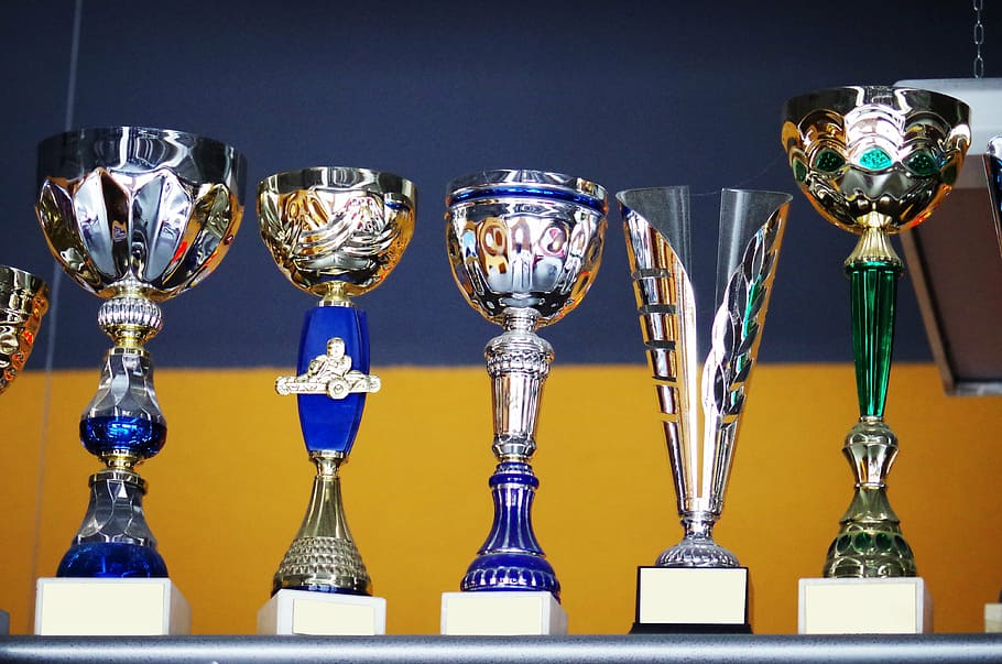 trophies and cups related to sports